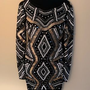 Intricately Beaded Long Sleeve Cocktail Dress